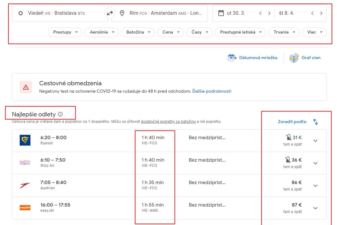 google flights dva batohy